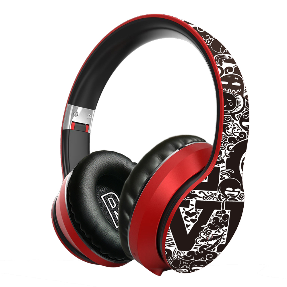 Lule Wireless Bluetooth Graffiti Design Earphone - Red