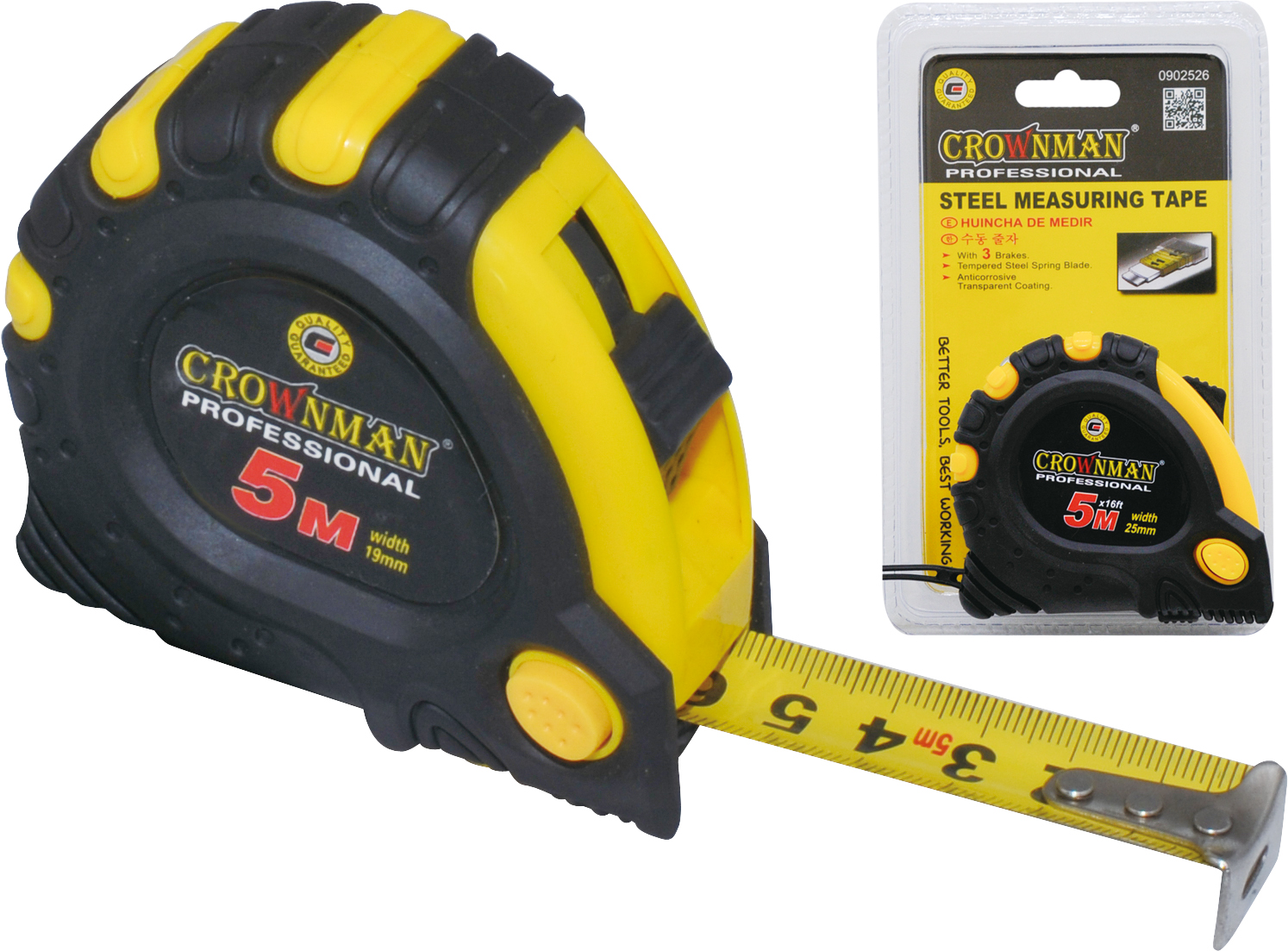 Crownman 5mx19mm Steel Measuring Tape ABS Case with TPR Coating