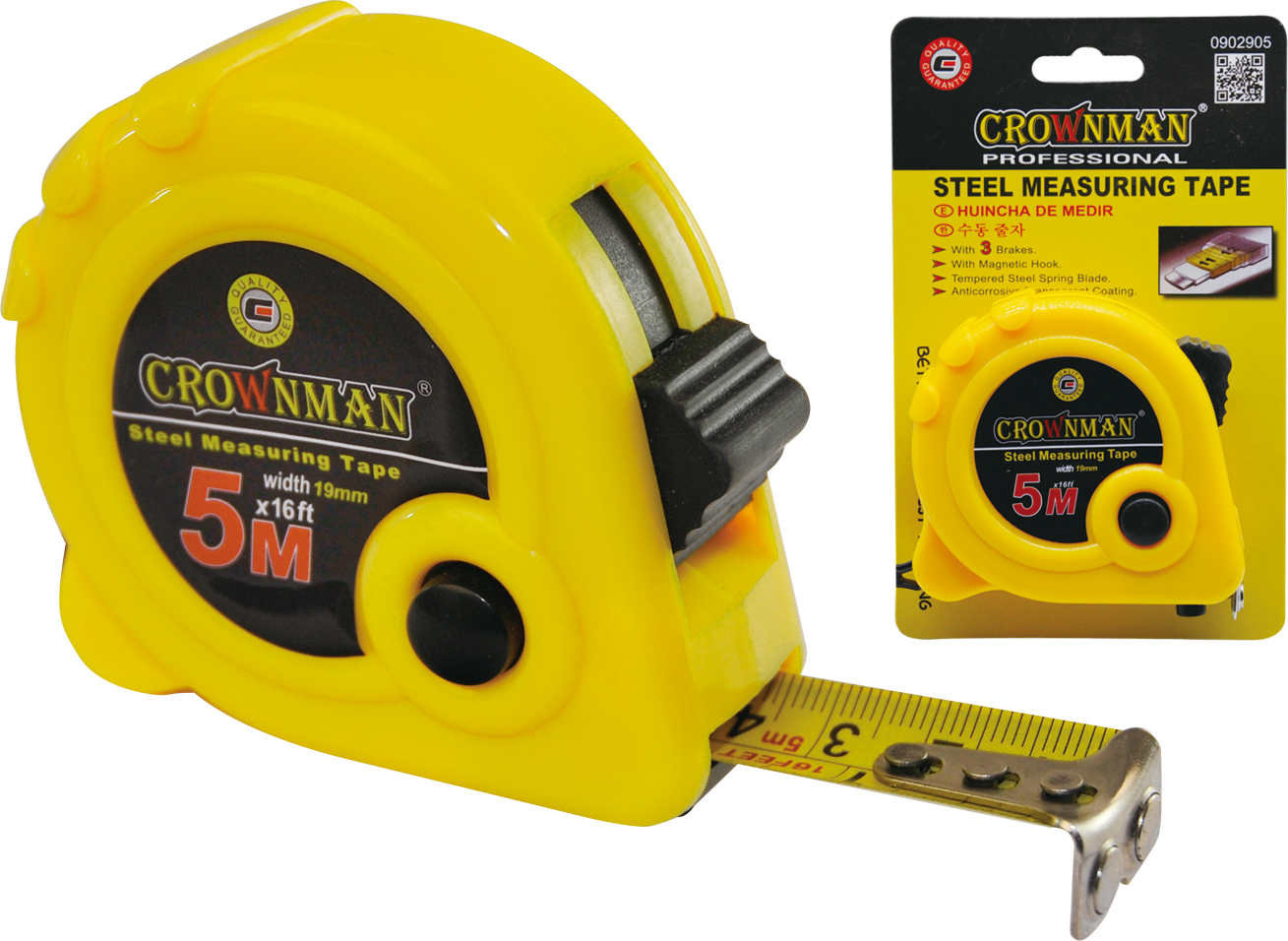 Crownman 5mx19mm ABS Case Steel Measuring Tape with Magnetic Hook