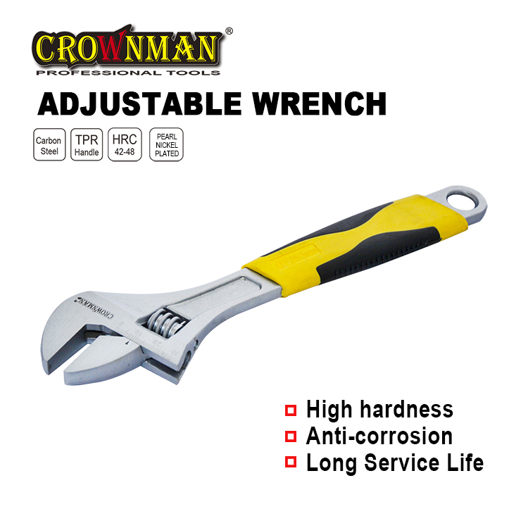 "Crownman 8"" Adjustable Wrench with Double Color Handle"