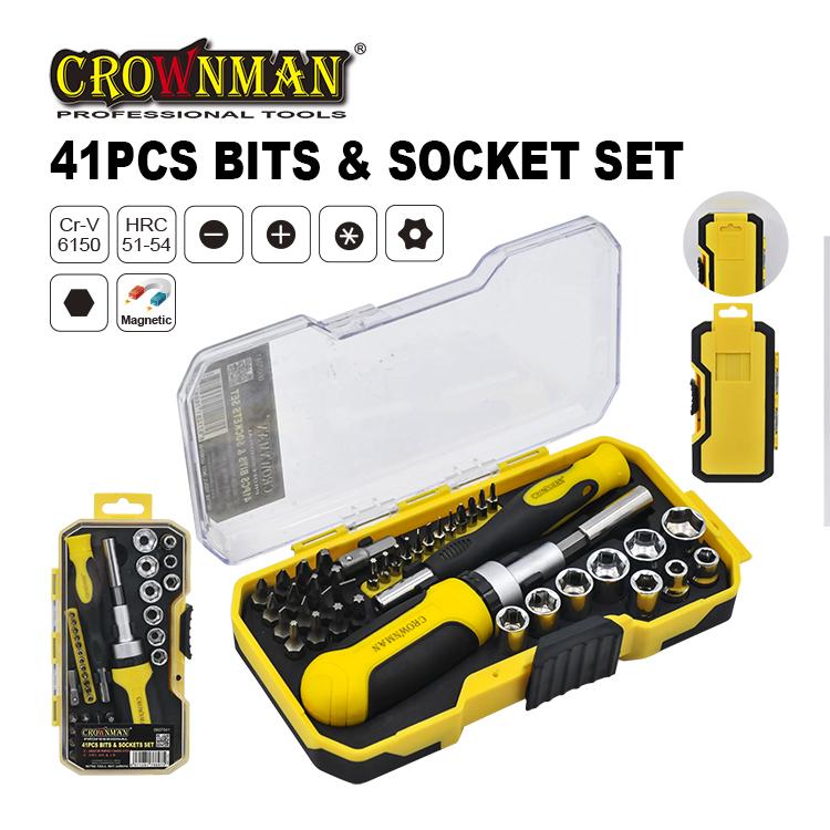 Crownman 41PCS Bits & Sockets Set
