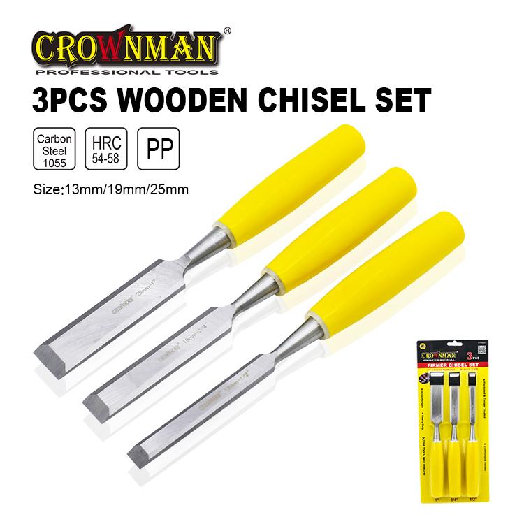 Crownman 3 Pieces Wooden Chisel Set