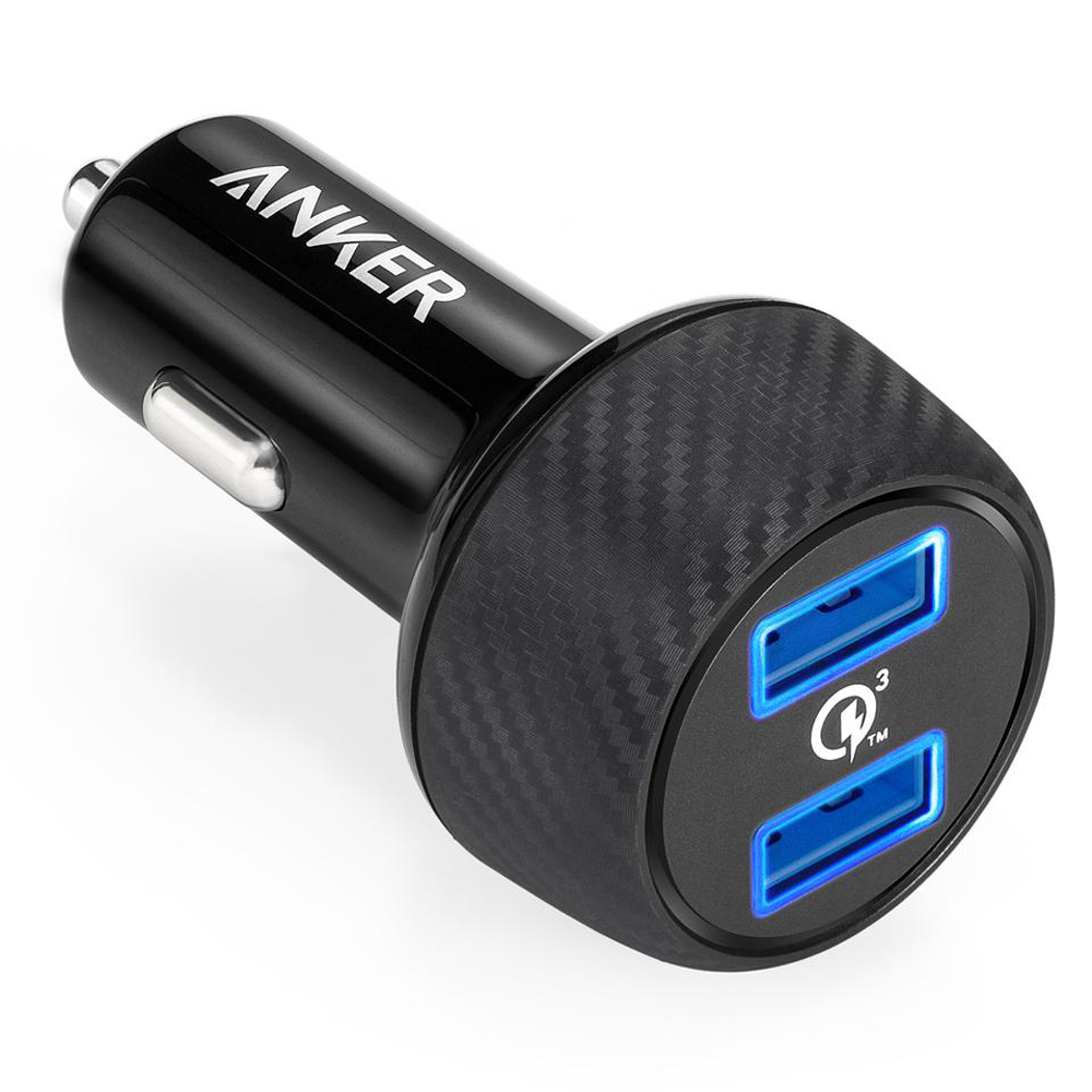 Anker A2228 PowerDrive Speed 2 Quick Charge 3.0 39W Dual USB Car Charger for Samsung Galaxy, PowerIQ for Apple iPhone, Apple iPad and More - Black