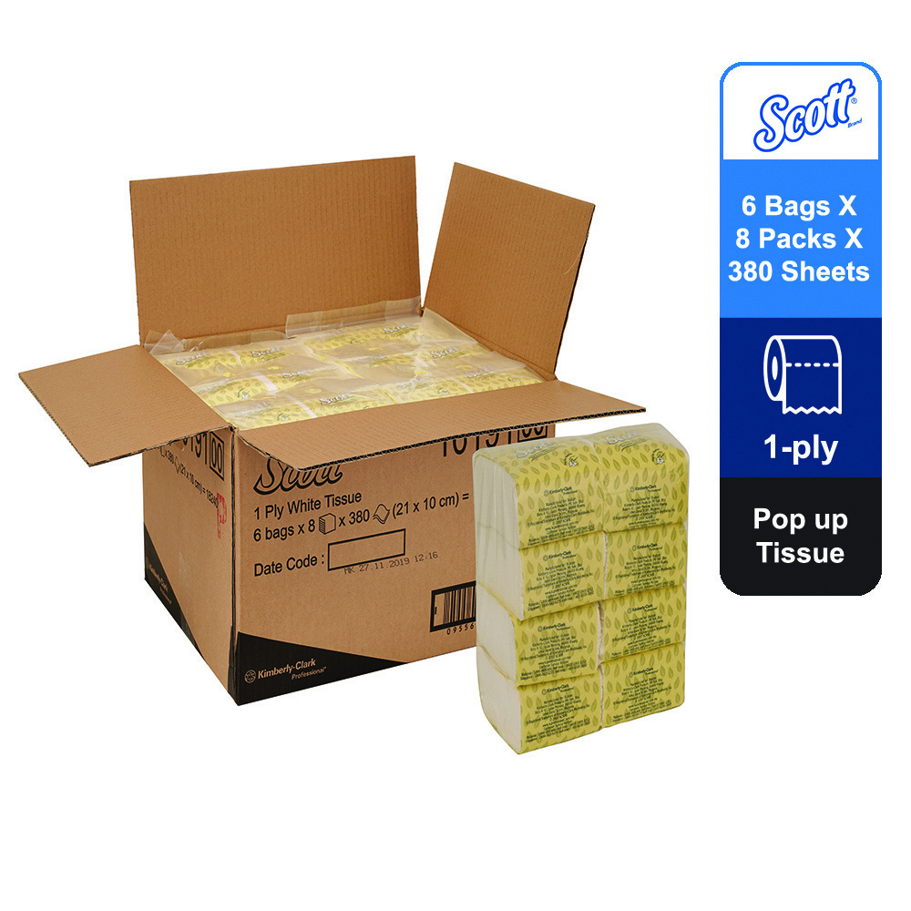 Scott® Pop Up Tissue 16191 - white, 1ply, 6bags x 8packs x 380sheets (18240 sheets)