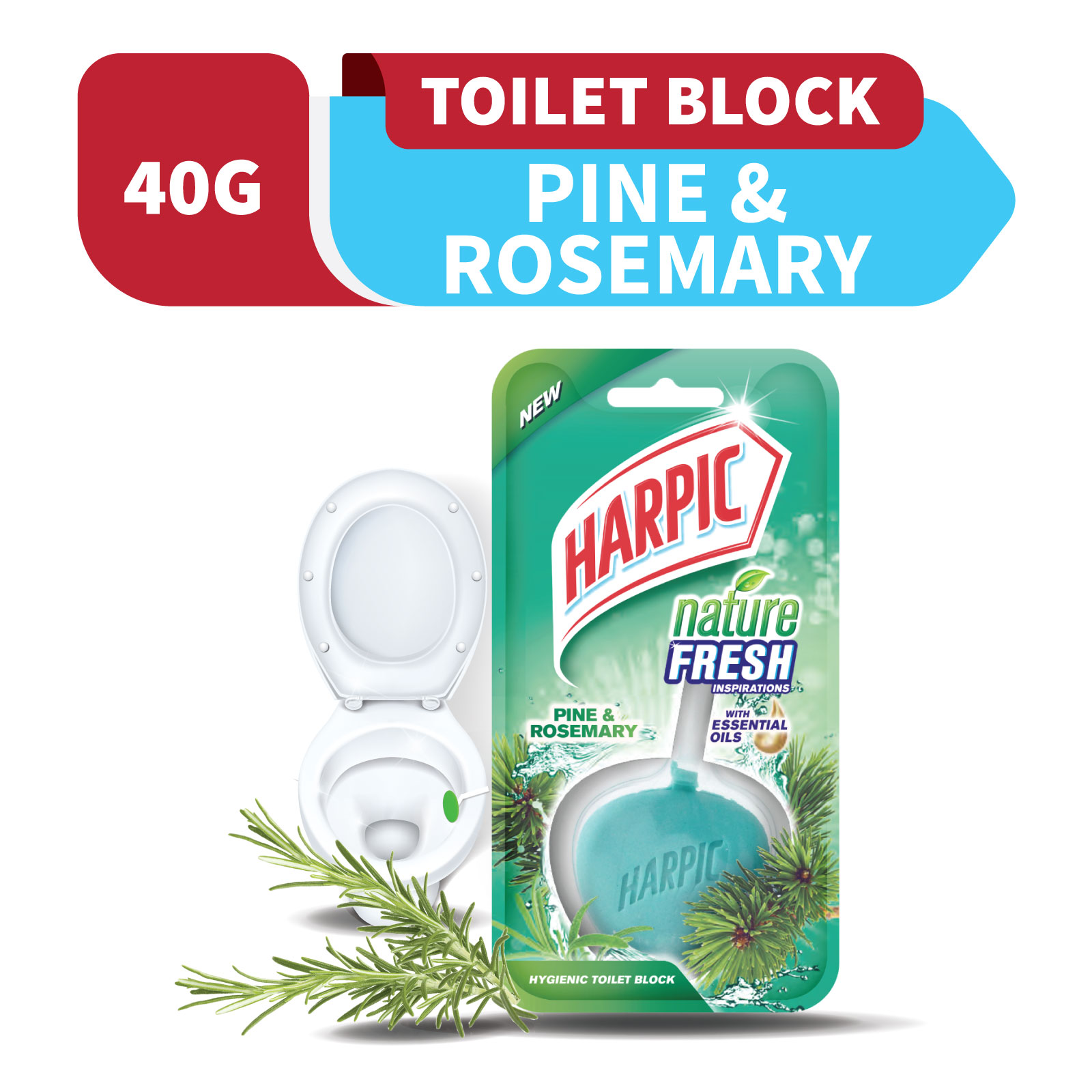 Harpic Nature Fresh Pine & Rosemary 40g