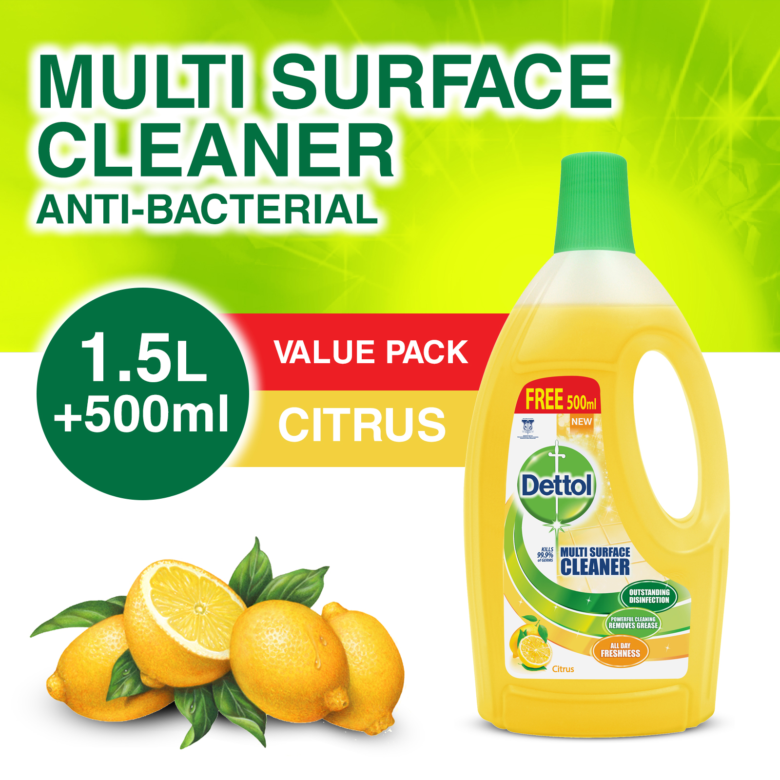 Dettol Multi Action Cleaner 1.5L+FOC 500ml (Citrus)