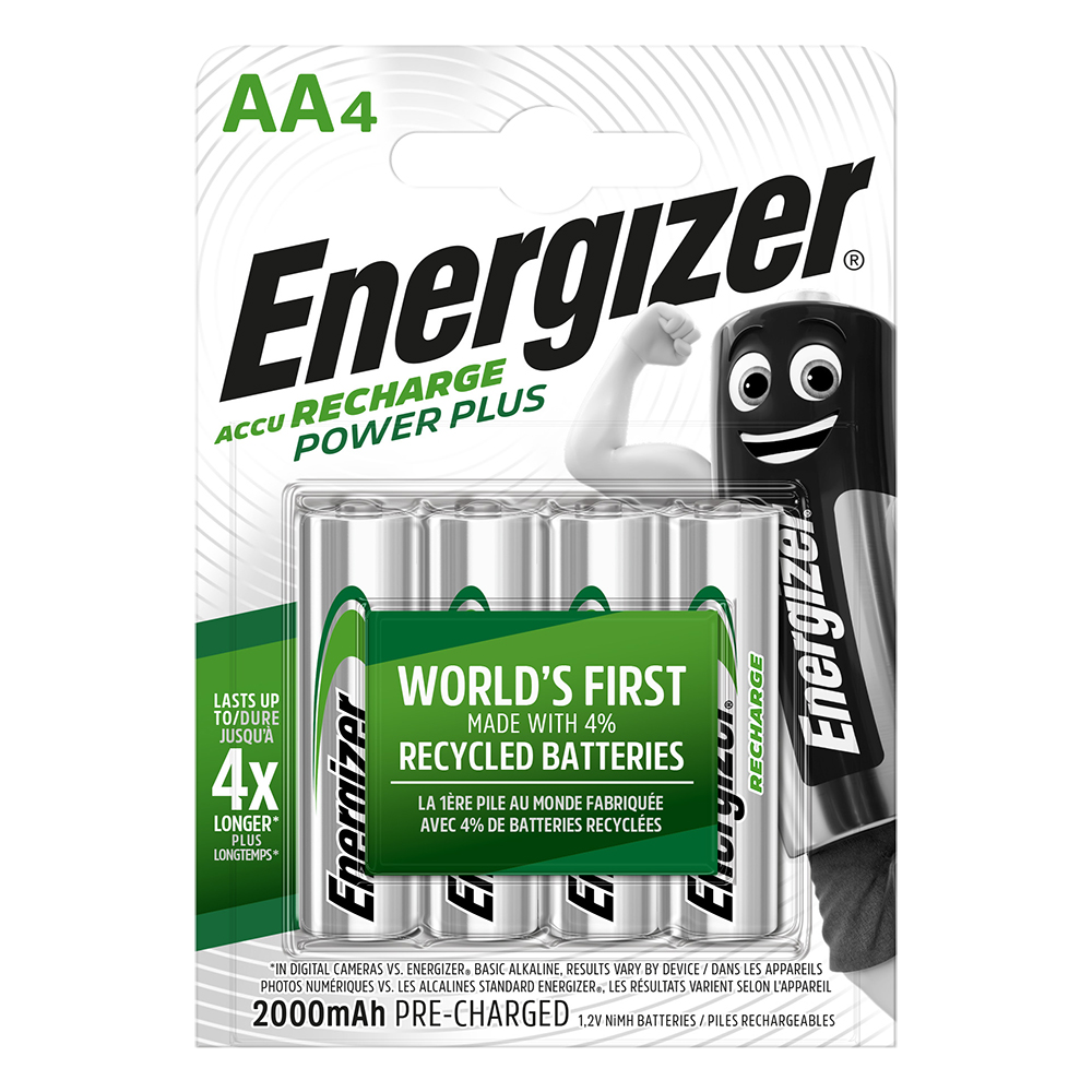 Energizer Power Plus AA Rechargeable Batteries - 4-count - 2000mAh - 1000 Cycles