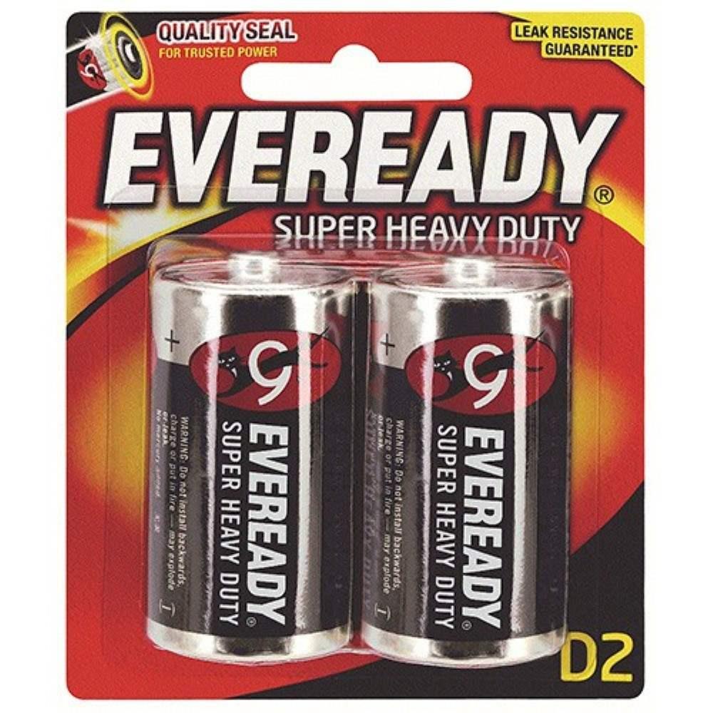 EVEREADY Super Heavy Duty D Carbon Zinc Batteries - D Size - 2pcs