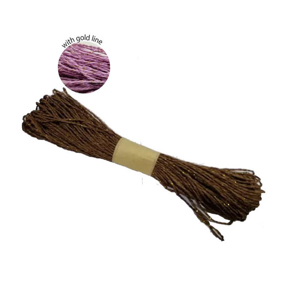Colorful Paper Rope 25meters with Gold Line - Brown