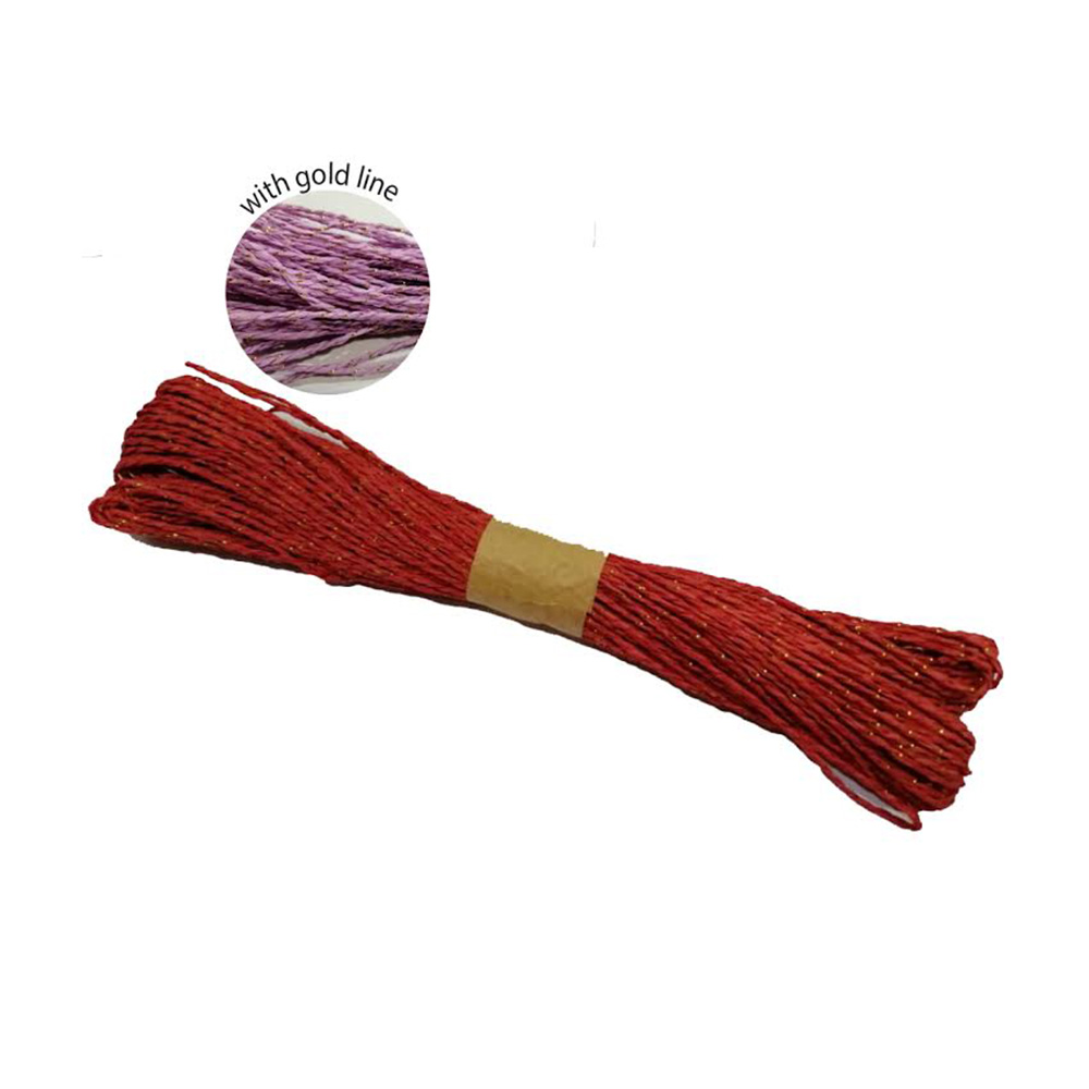 Colorful Paper Rope 25meters with Gold Line - Red