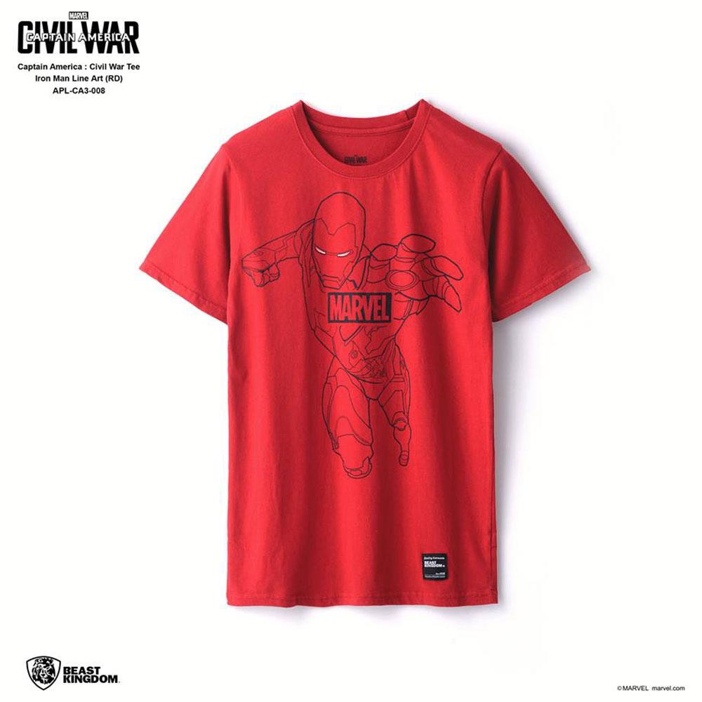 Marvel Captain America: Civil War Tee Iron Man Line Art - Red, Size L (APL-CA3-008)