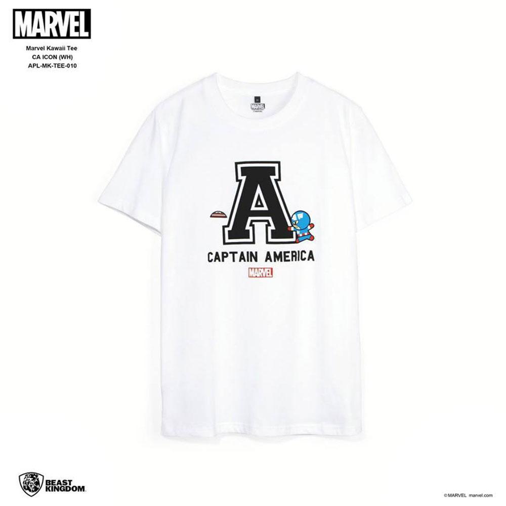 Marvel: Marvel Kawaii Tee Captain America Icon - White, Size L (APL-MK-TEE-010)